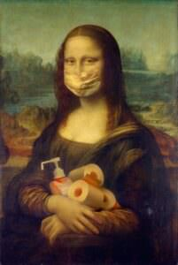 Lady, called the Mona Lisa, wearing a mask and holding sanitizer and toilet paper