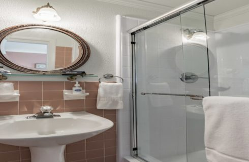 Bathroom with light mauve tiles, white paint, stand up shower, white pedestial, and oval mirror